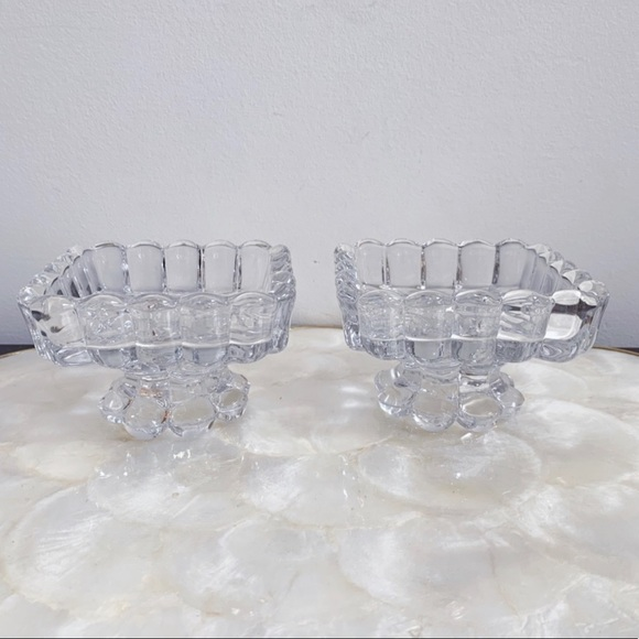 Vtg Clear Glass Scalloped Edge Compote Dish Pair